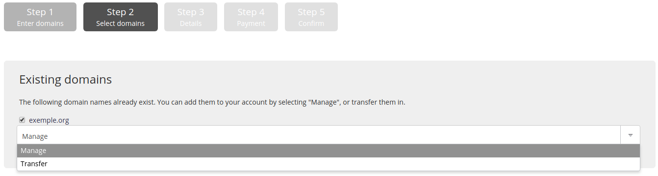 Administration interface: step 2