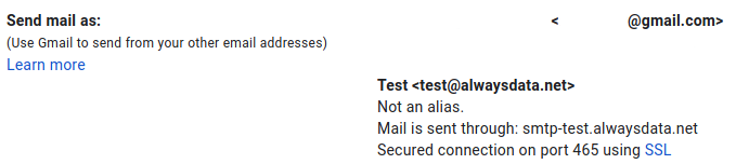 Gmail: create an SMTP account - result