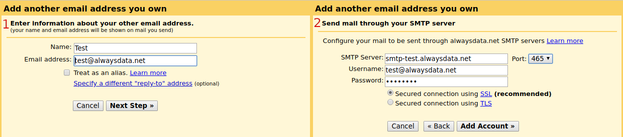 Gmail: create an SMTP account