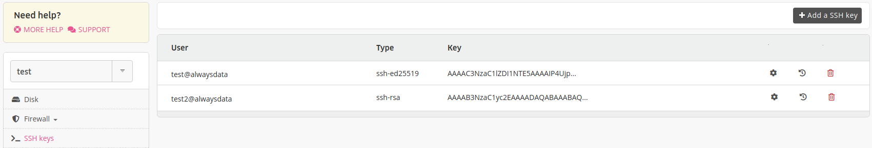 Administration interface: global SSH keys
