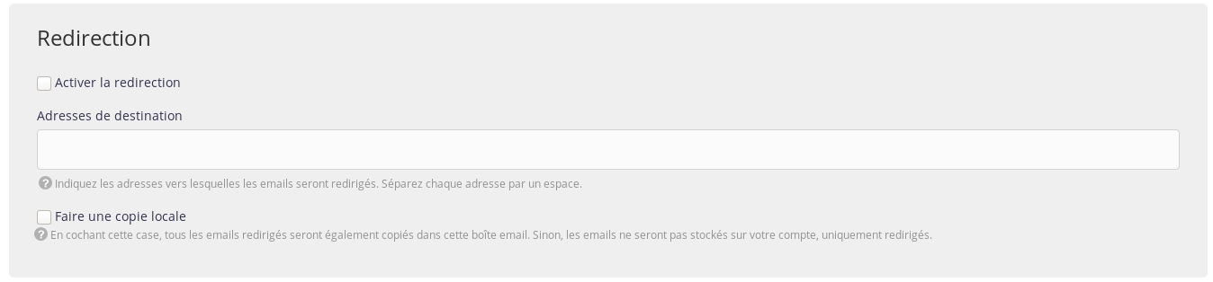 Interface d'administration : Emails - Redirection